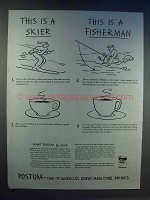 1942 Postum Drink Ad - This is Skier, This is Fisherman
