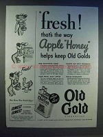 1943 Old Gold Cigarettes Ad - Fresh Apple Honey