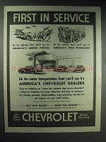 1944 Chevrolet Car Ad - First in Service