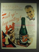 1945 7-up Soda Ad - Fresh Up Keep Smiling!