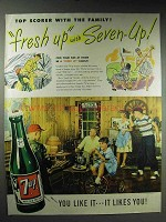1947 7-Up Soda Ad - Top Scorer With the Family