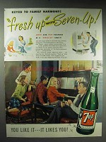 1947 7-Up Soda Ad - Keyed to Family Harmony