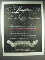 1947 Longines Watch Ad - World's Most Honored