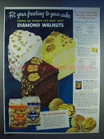 1950 Diamond Walnuts Ad - Chocolate-Walnut Frosting