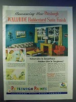1951 Pittsburgh Paints Ad - Wallhide Rubberized Finish