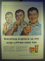 1956 Lipton Tea Ad - Brightens Up With Brisk Iced Tea