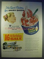 1956 Dairy Queen Strawberry Sundae Ad - Sweet Sixteen