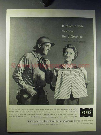 1960 Hanes Givvies Shorts Boxer Underwear Ad