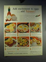 1960 Tabasco Pepper Sauce Ad - Excitement To Eggs