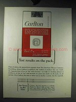 1964 Carlton Cigarettes Ad - Test Results