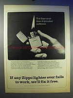 1966 Zippo Cigarette Lighter Ad - Saved Shipwrecked