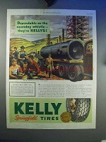 1944 Kelly Springfield Tires Ad - Noonday Whistle