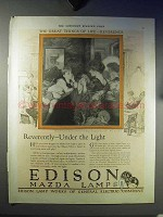1921 Edison Mazda Lamps Ad - Reverently Under Light