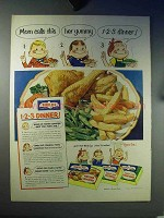 1952 Birds Eye Chicken, French Fries, String Beans Ad