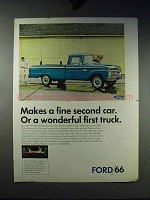 1966 Ford Pickup Truck Ad - Makes a Fine Second Car