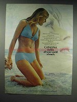 1970 Catalina Bikini Swimsuit Ad - All World A Beach