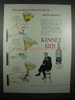 1947 Kinsey Gin Ad - Which Martini?