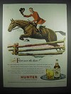 1947 Hunter Whiskey Ad - First Over the Bars