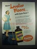 1947 Simoniz for Floors Wax Ad - Lovelier Floors