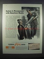 1946 La Monte Safety Paper Ad - Parmount with Banks