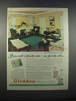 1946 Glidden Paint Ad - Want a Friendly Room