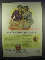 1945 Carnation Milk Ad - When Grandmothers Get Together