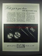 1945 Lady Elgin and Lord Elgin Watches Ad - Hold Fast