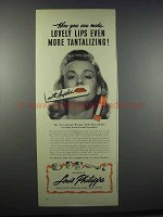 1945 Louis Philippe Angelus Lipstick Ad - Lovely Lips