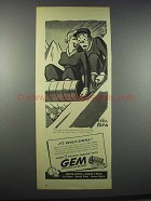 1945 Gem Razors and Blades Ad - Art by Peter Arno