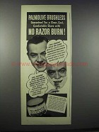 1944 Palmolive Brushless Shaving Cream Ad - No Burn