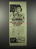 1944 Nabisco Shredded Wheat Cereal Ad - Hours of Energy