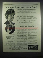 1944 Zenith Radionic Hearing Aid Ad - Owe Uncle Sam