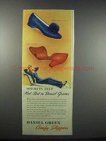 1943 Daniel Green Slippers Ad - Quilted Comfy, Vestal