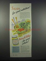 1943 Kraft Miracle Whip Ad - Salads for Good Nutrition