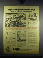 1943 Rheem Artillery Shells Ad - Knocking Holes In