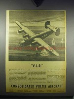 1943 Consolidated Liberator Bomber Ad - V.L.R.