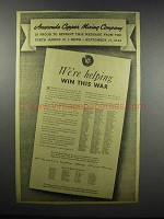 1942 Anaconda Copper Mining Ad - Win This War