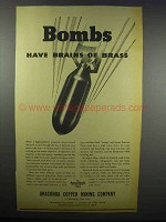 1942 Anaconda Copper Mining Ad - Bombs Brains of Brass