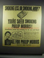 1942 Philip Morris Cigarettes Ad - Smoking Less or More