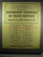 1942 Pennsylvania Railroad Ad - Changes in Service