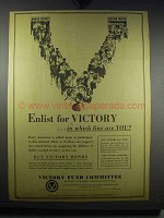 1942 Victory Fund Committee Ad - Enlist for Victory