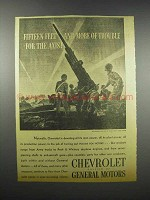 1942 Chevrolet Anti-Aircraft Gun Ad - Trouble for Axis