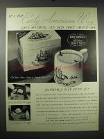 1939 Old Spice Shave Soap in Pottery Mug, Shave Sets Ad
