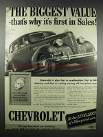 1939 Chevrolet Car Ad - The Biggest Value