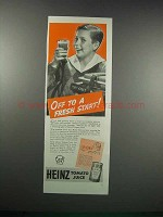 1938 Heinz Tomato Juice Ad - Off to A Fresh Start
