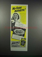 1938 Heinz Cooked Spaghetti Ad - No-Fuss Budgets