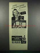 1938 Hinds Honey & Almond Cream Ad - Good-Will Bottle