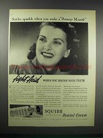 1938 Squibb Dental Cream Ad - Wake a Drowsy Mouth