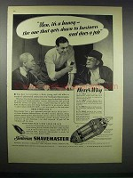 1938 Sunbeam Shavemaster Ad - Men, It's A Honey
