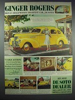1939 DeSoto Cars Ad - Ginger Rogers